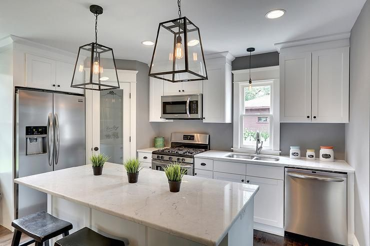 Best White And Gray Kitchen Features A Corner Frosted Glass 640 x 480