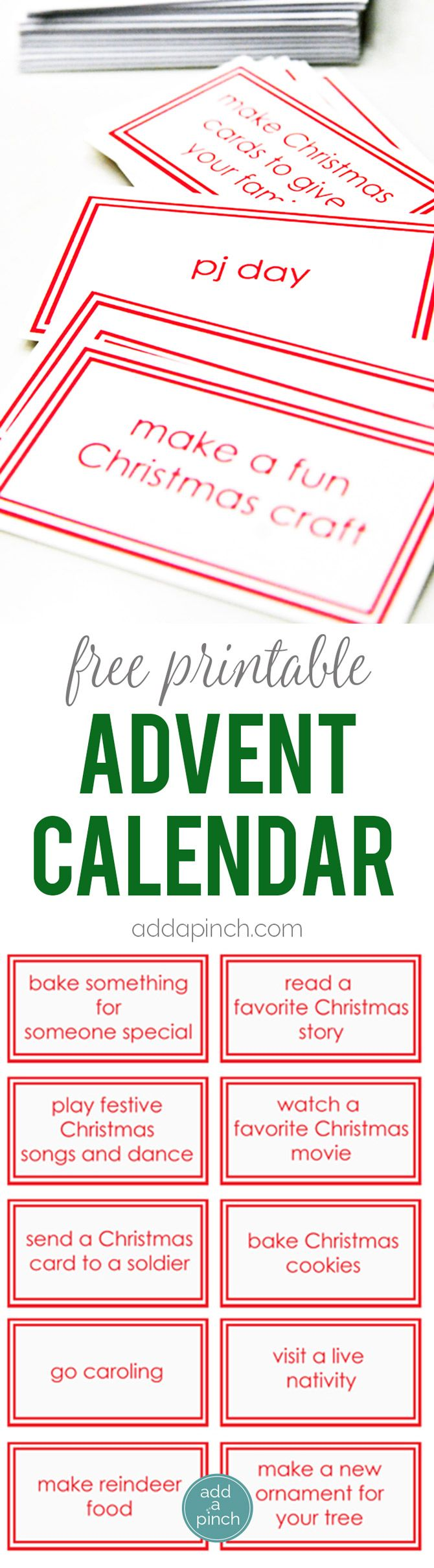Children's Christmas Advent Calendar Printable {Free
