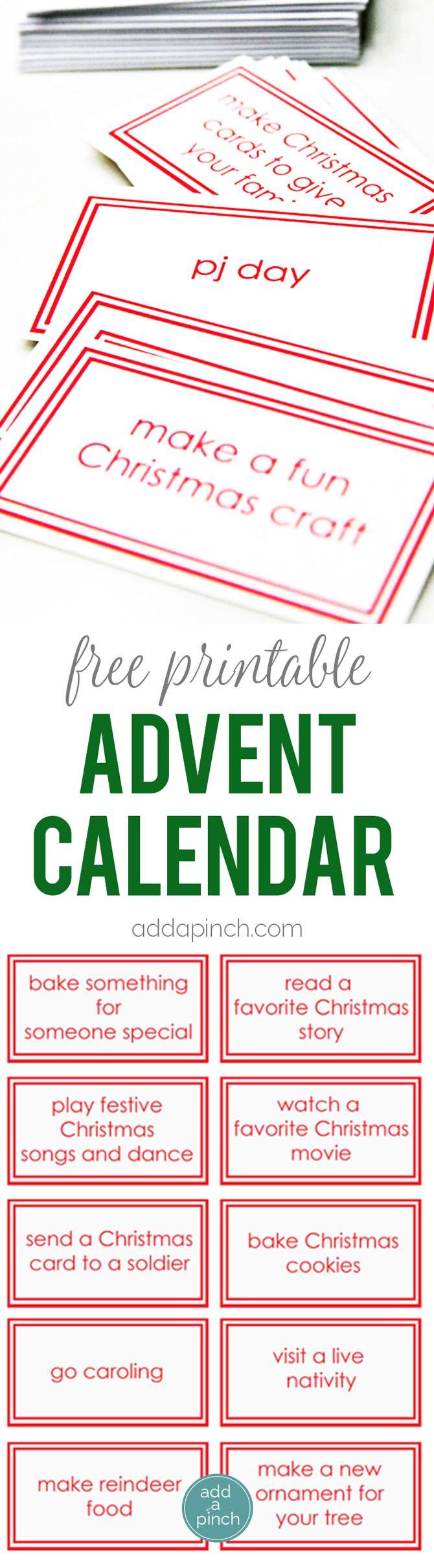 Christmas Advent Calendar Printable Add A Pinch Childrens Christmas Printable Advent Calendar Christmas Advent