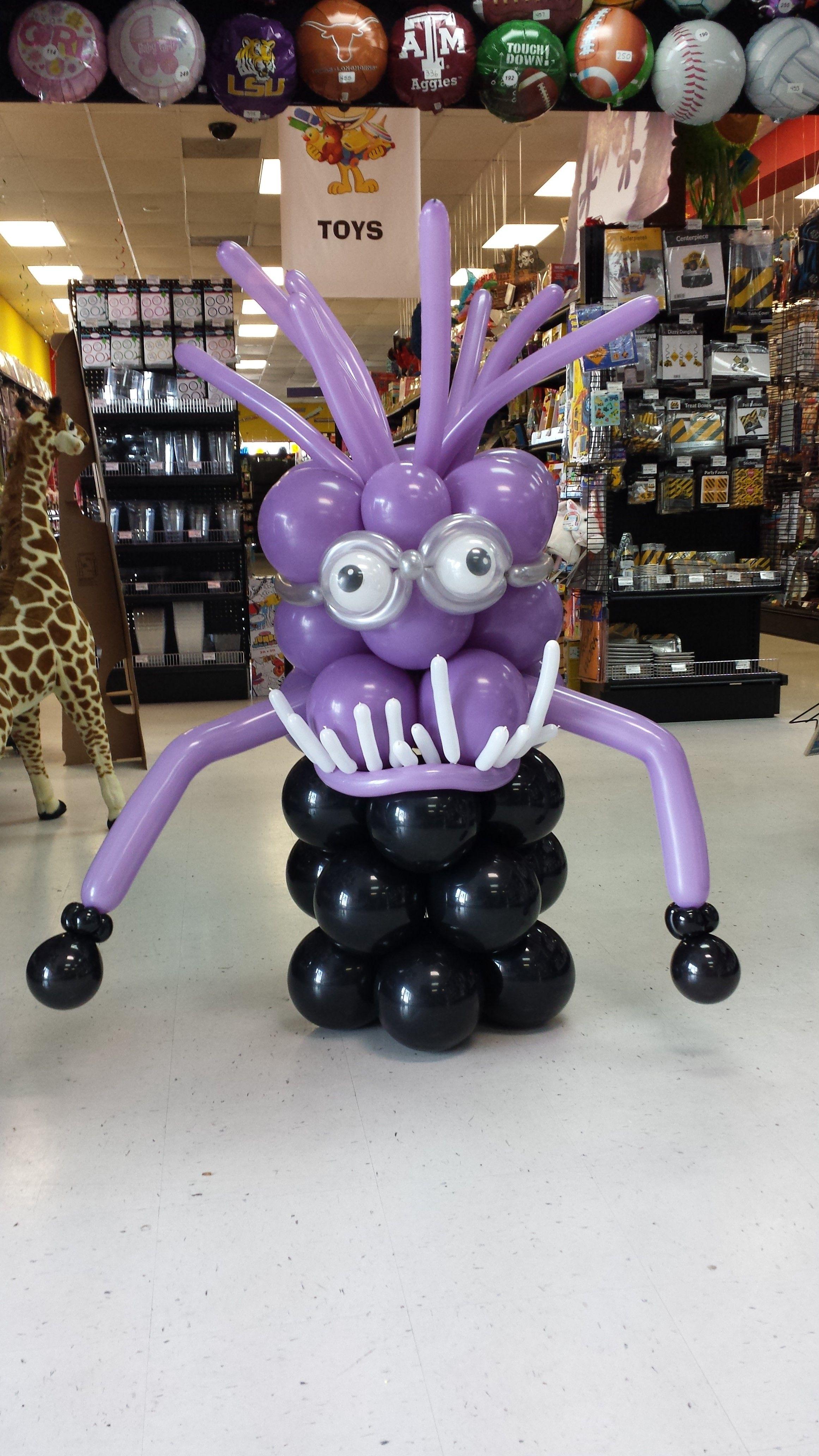 Evil purple minion made of balloons balloon ideas