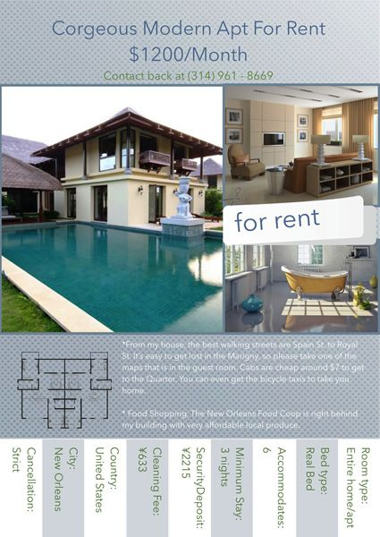 need to make a flyer for rent this design is satisfactory