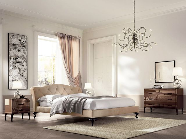 Modern traditional bedroom in pale colors and wonderful chandelier ...