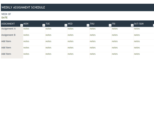 Weekly Assignment Schedule  Get Organized Tools