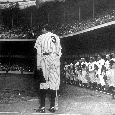Babe Ruth, wearing his famed uniform for the last time, bowed as he acknowledges the cheers of thousands of fans who saw the No. 3 retired by the Yankees during the June 13, 1948 observance of the 25th anniversary of the opening of Yankee Stadium.