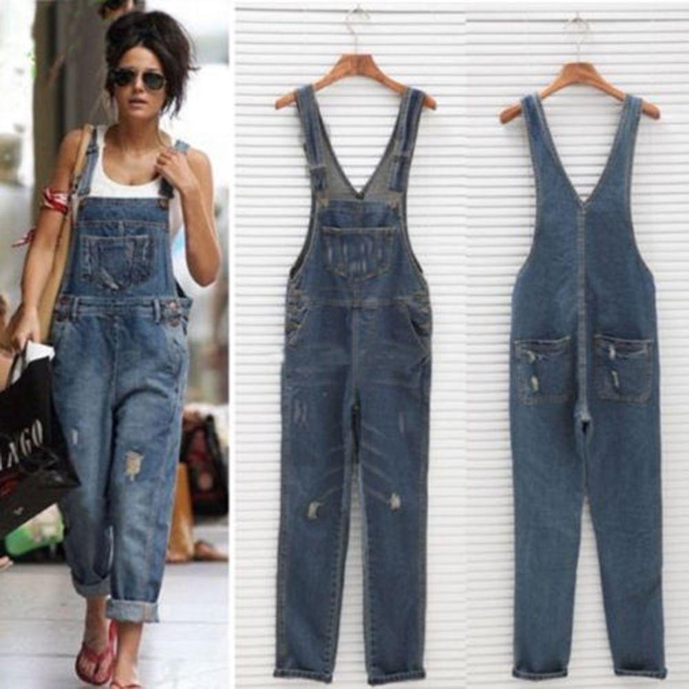 3535009489f0 Women Baggy One-Piece Jumpsuits Overalls Denim Jeans Bib Trousers Long Pants