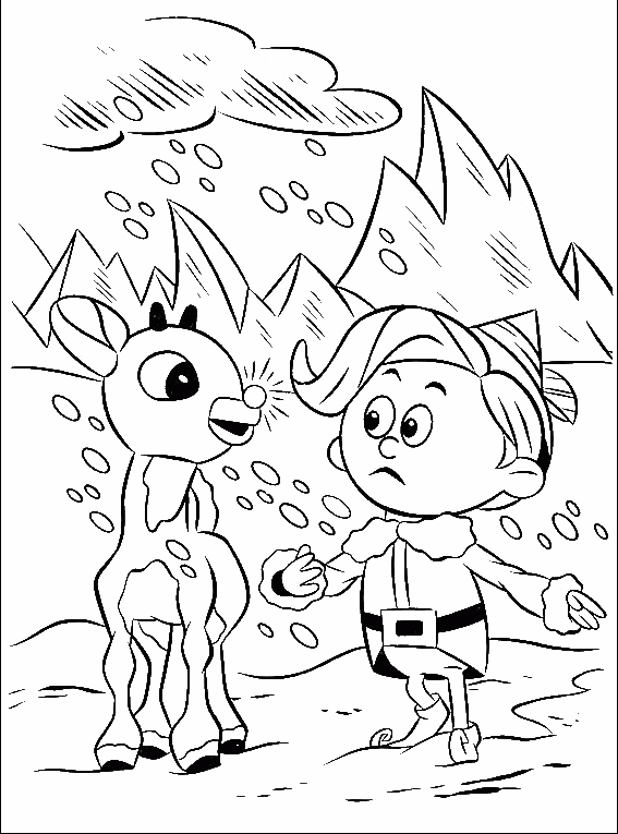 A Little Rudolph With Children Coloring Pages - Rudolph Coloring ...