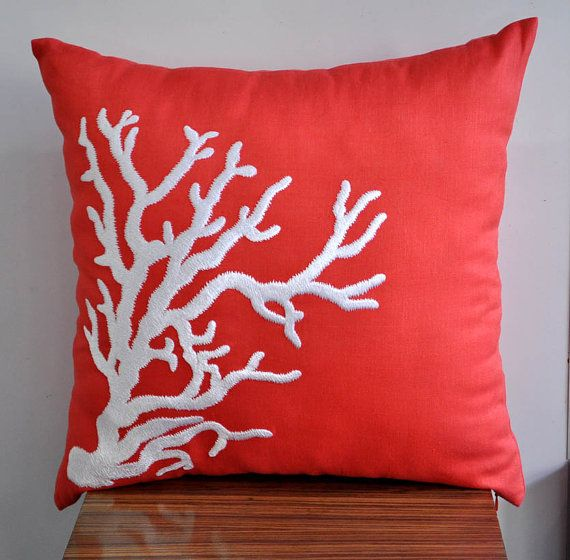 Deep Orange linen fabric with white Nautical coral