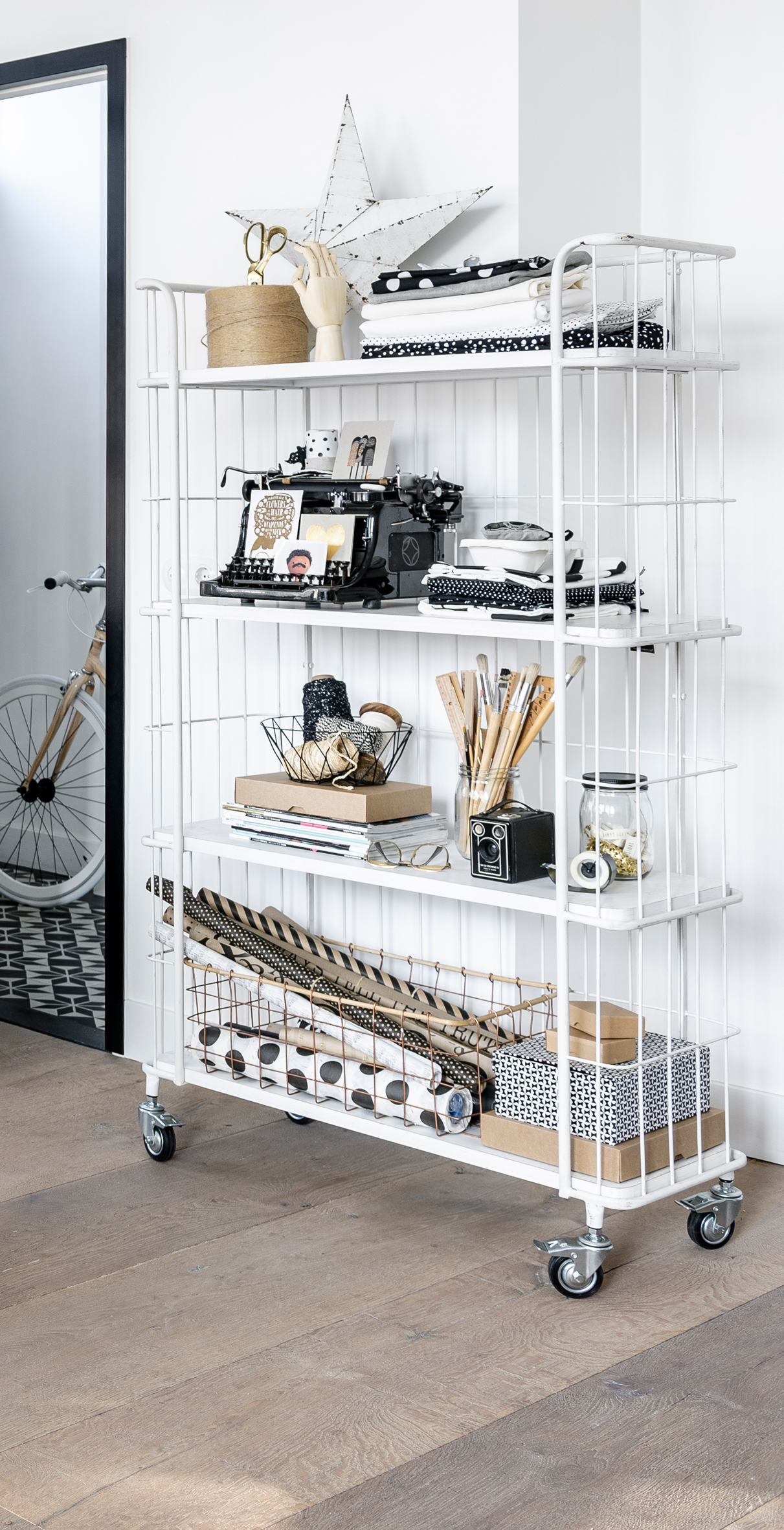 White Metal Trolley Shelves With Wheels Perfect For Storage