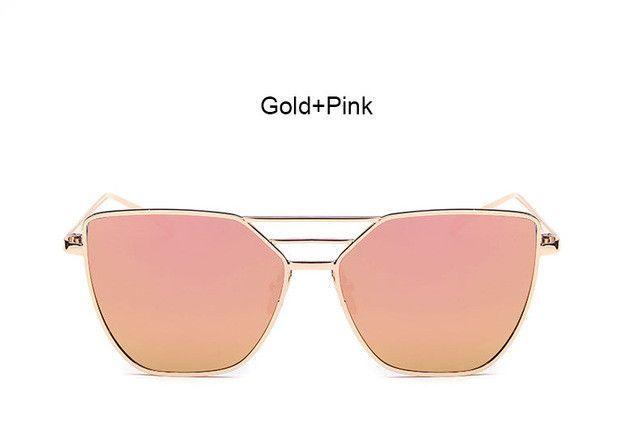 Flat Top Rose Gold Women Mirror Sunglasses