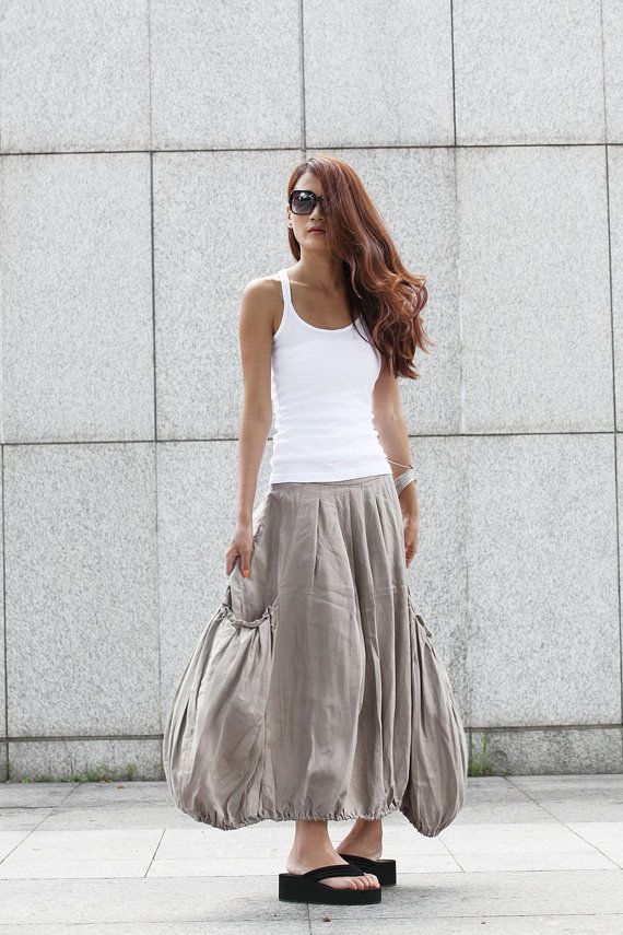 Lagenlook Grey Side Pockets Casual Pleat Long by Sophia clothing. , via Etsy.