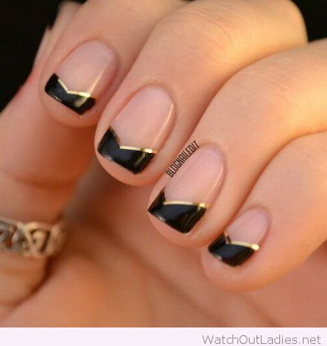 Simply And Classy Manicure With Black Gold Detail