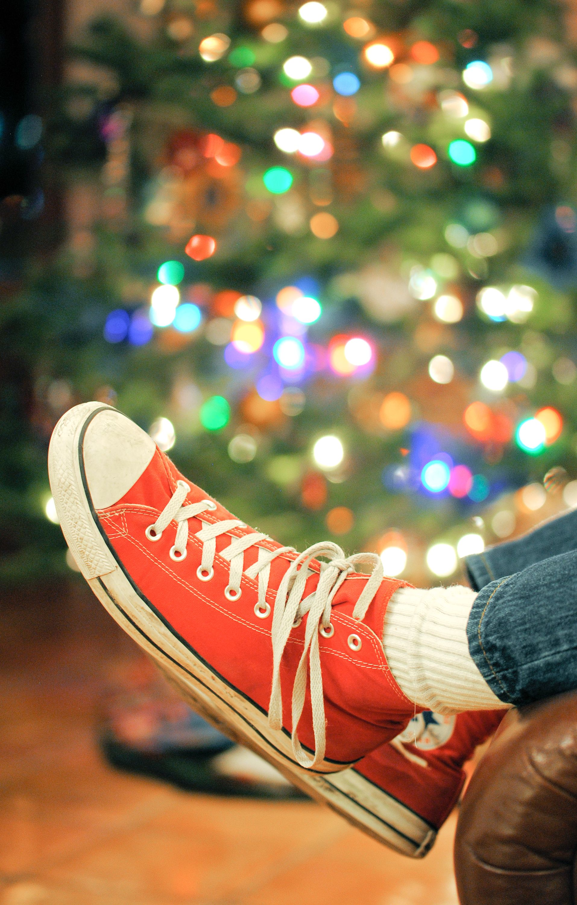 December 11, 2015:  Still Life, Red Converse Shoes, Christmas Tree, Bokeh