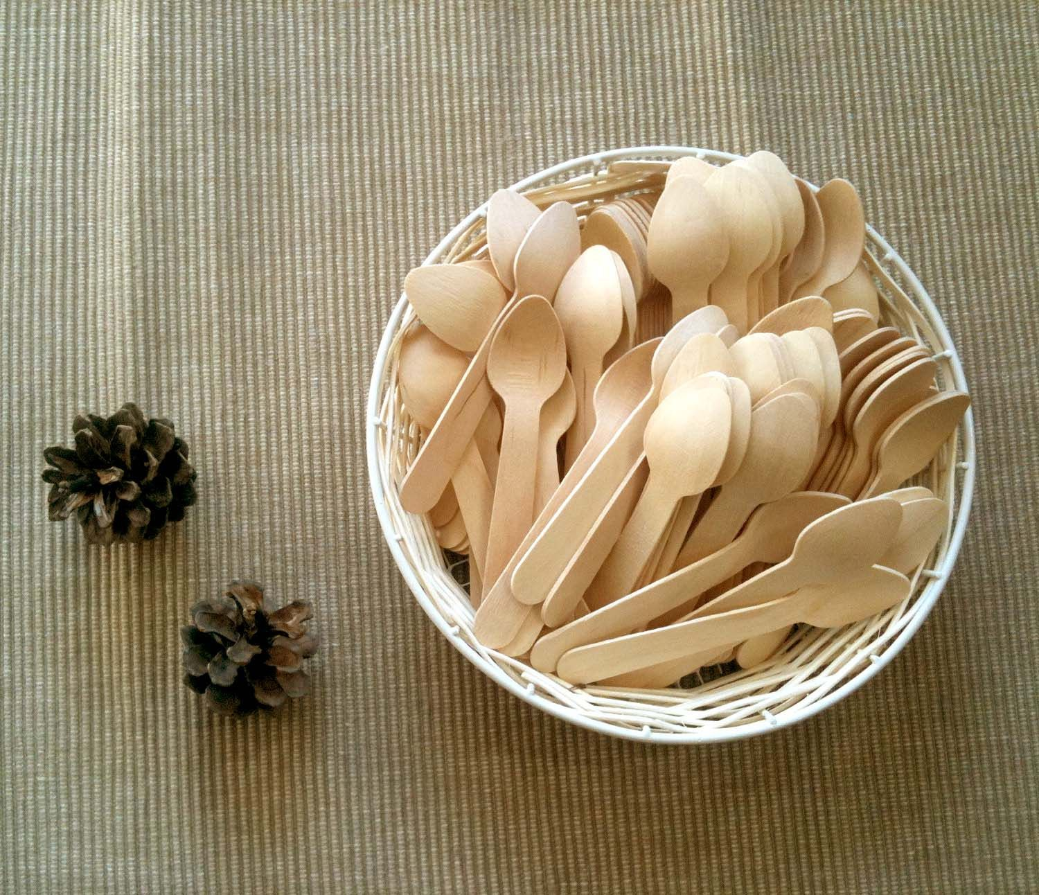 Craft Ready 100 Mini Wooden Spoons For Stamping Painting Making