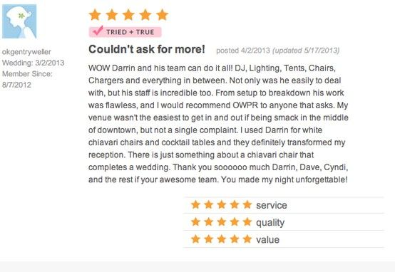 Review us on The Knot! http://www.theknot.com/Vendors/Orlando-Wedding-and-Party-Rentals/Profile/eqr/053/482263/Profile?g=0