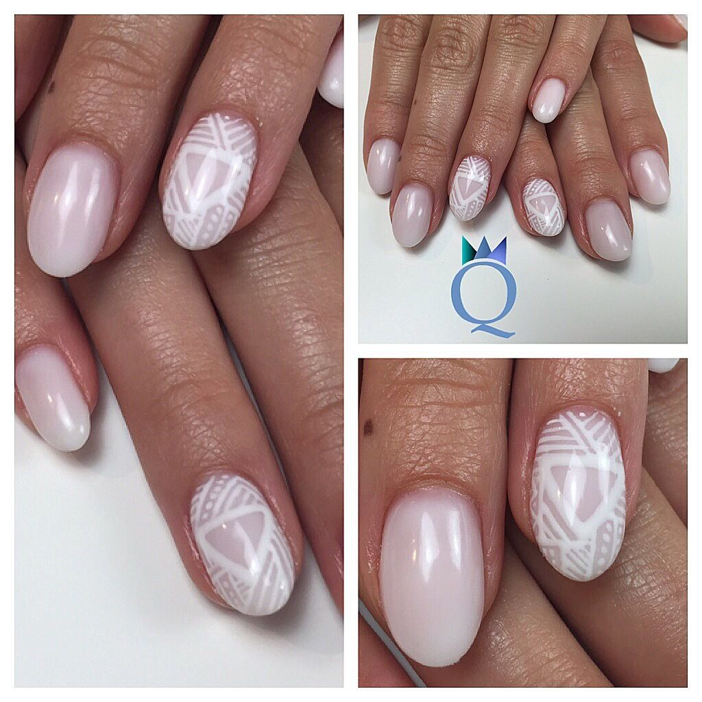 shortnails #nails #gelnails #frosted #white #handpainted #nailart ...
