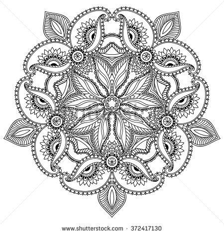 Vector henna tatoo mandala. Mehndi style. | coloring inspiration ...