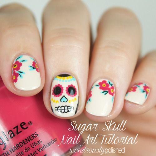 Christmas Toe Nail Art Tutorial: Mani Monday: Sugar Skull Nail Tutorial