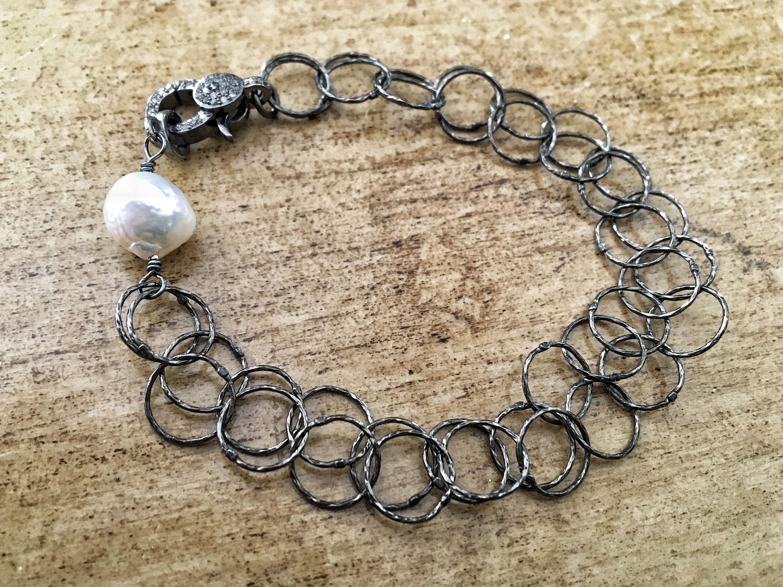Oxidized Silver Chain Bracelet