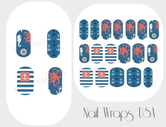 Nautical Nail Wraps, Manicure, Nail Decals, Designs For Nails, Vinyl ...