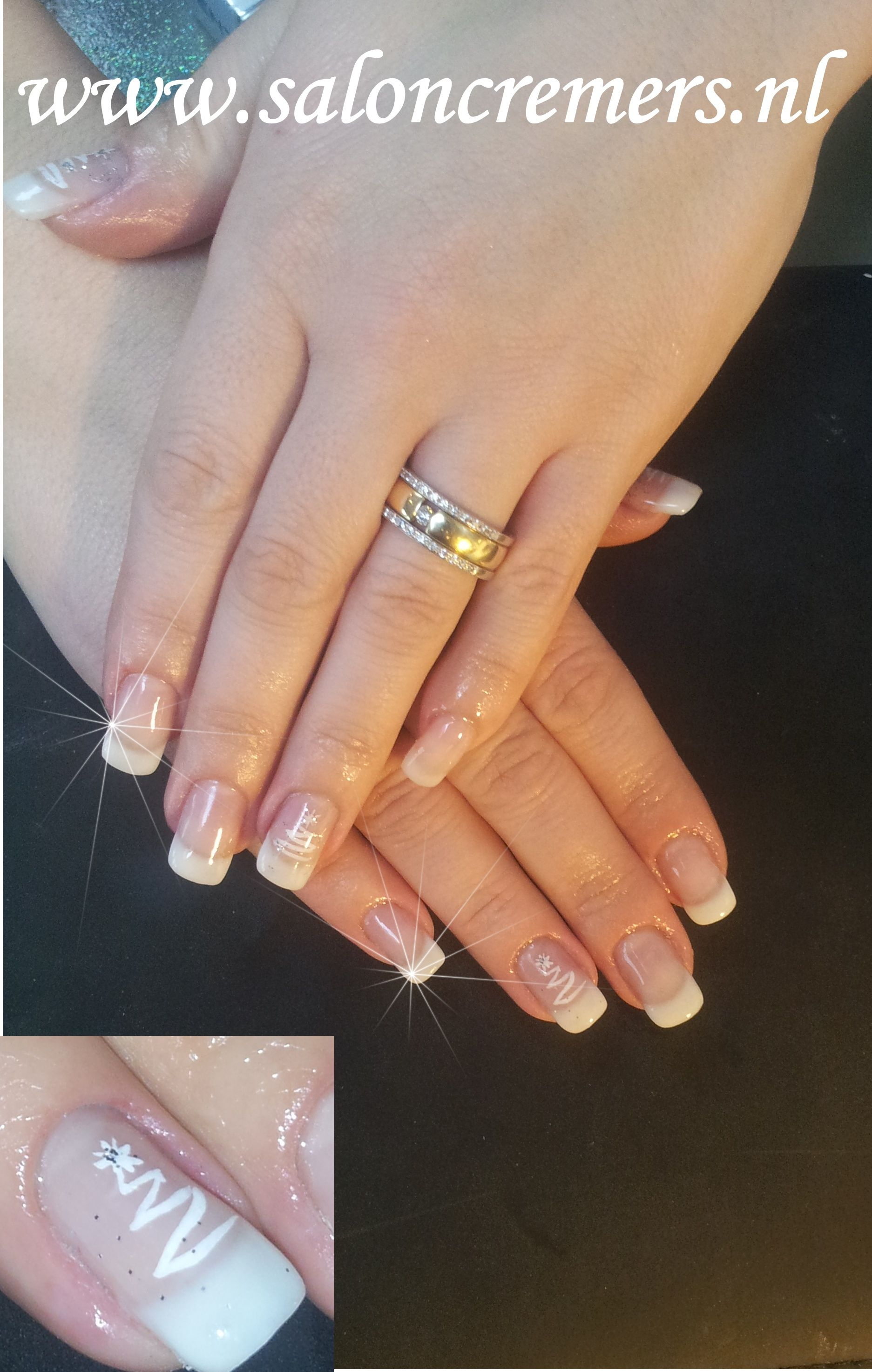 Off White French Manicure With White Christmas Tree Nail Art Nails