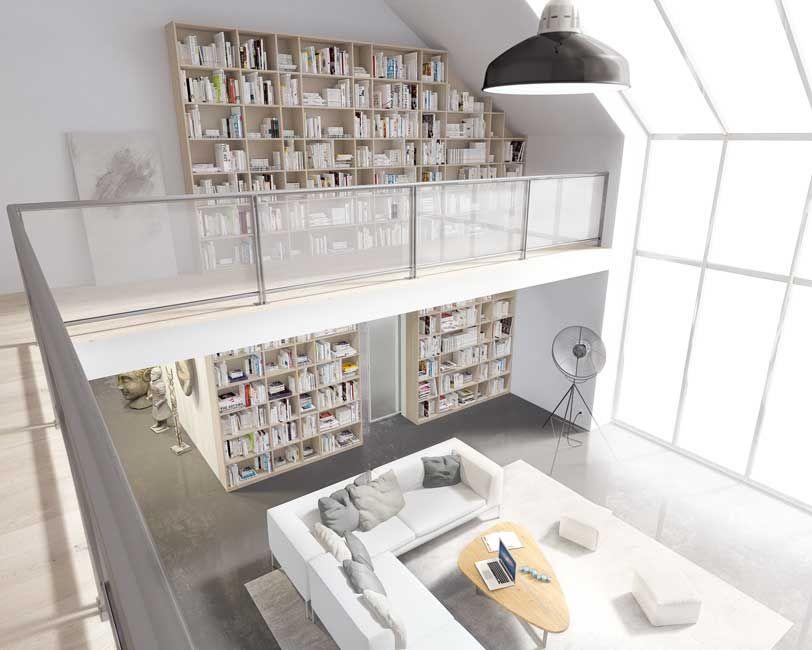 Bibliothèque en CE25 acacia, séparation de pièce rubis altitude avec - roulette de porte de placard