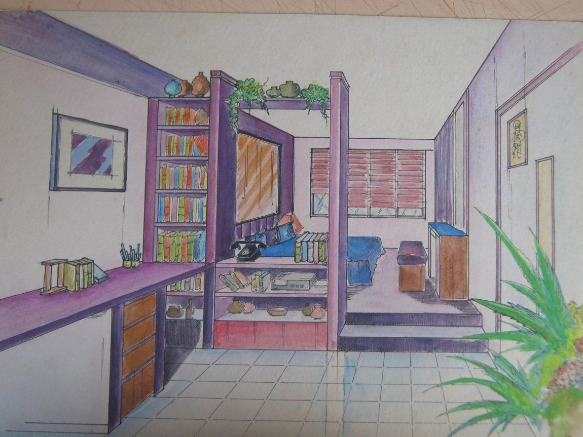 3 Point Perspective Birds Eye View How To Draw Room In