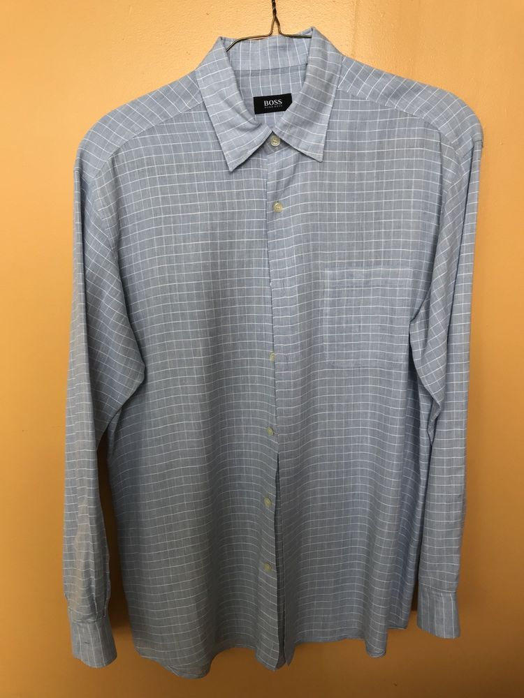b59f92e2e Boss Hugo Boss L Large Blue Striped Men's Button Front Shirt Linen #fashion  #clothing #shoes #accessories #mensclothing #shirts (ebay link)