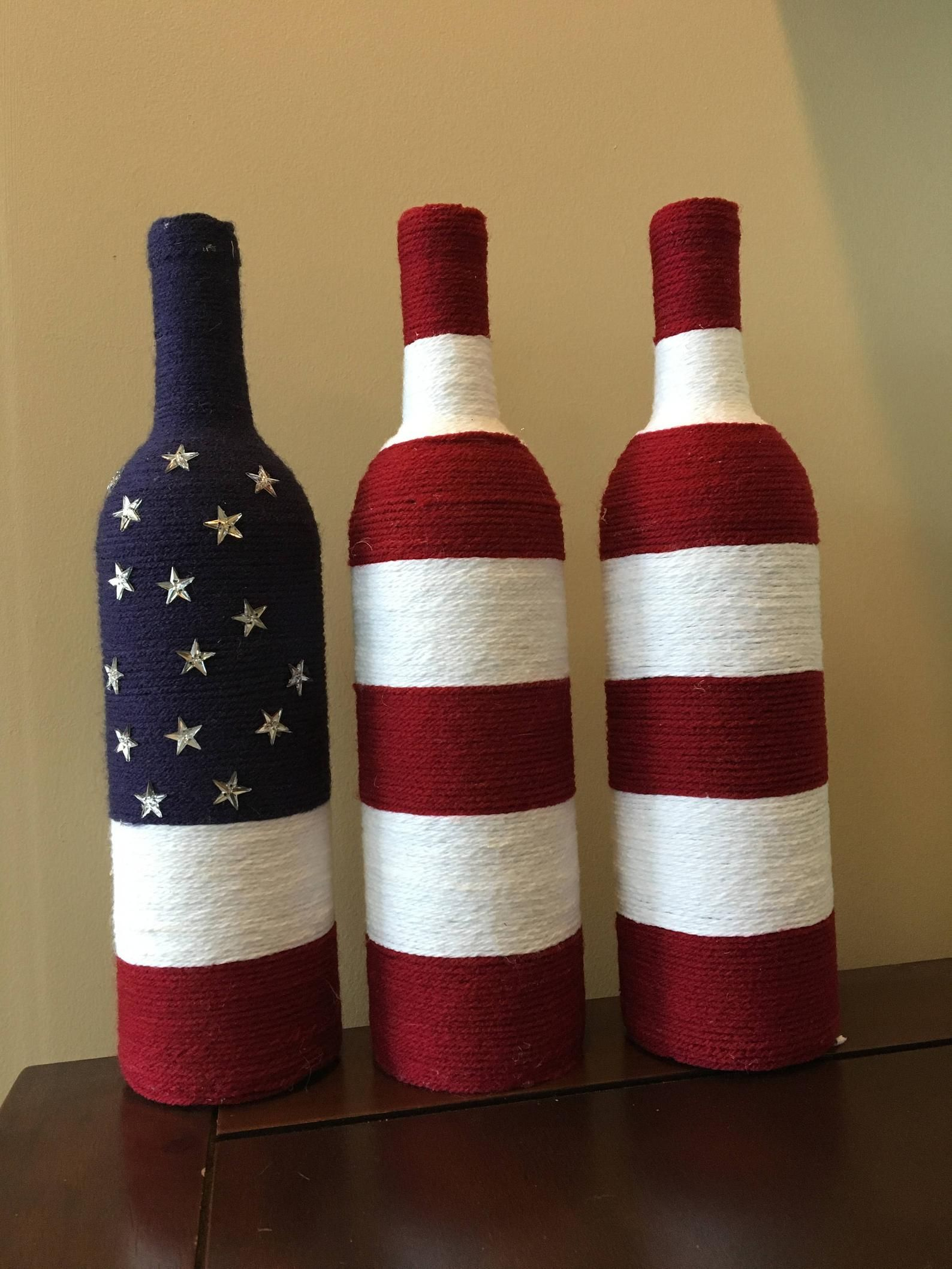 Yarn Wrapped Flag Wine Bottles In 2020 American Flag Decor Flag Decor Yarn Bottles