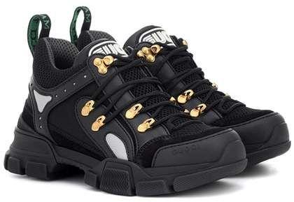 8f8f430c0 Gucci Flashtrek leather sneakers Sapatilhas, Tênis De Couro, Couro Liso, Nó  Alto,