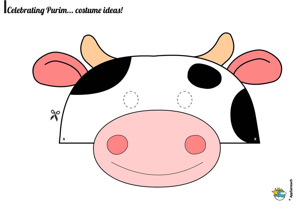 photograph about Cow Costume Printable named Purim-Mask-Cow_0071_world-wide-web Purim Printable cow mask, Cow