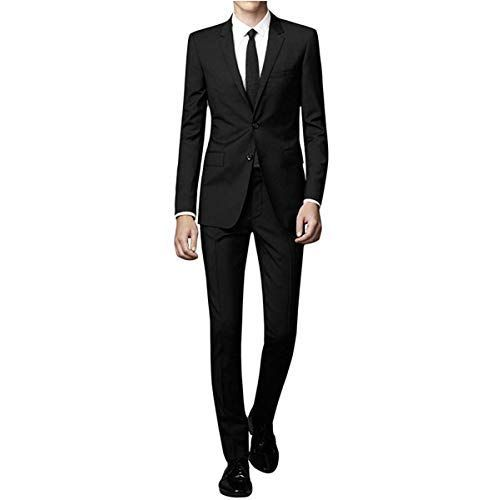 f3dedd7f41a8 WEEN CHARM Men's Suit Slim Fit 2-Piece Two Buttons Coat Tuxedo Single  Breasted Jacket Business Wedding Blazer