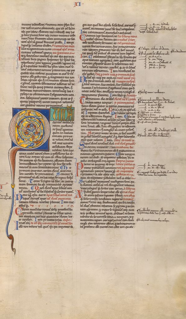Inhabited Initial Q; Unknown; Paris, France; about 1170 - 1180; Tempera colors, gold leaf, and ink on parchment; Leaf: 44.3 x 29.1 cm (17 7/16 x 11 7/16 in.); Ms. Ludwig XIV 2, fol. 110; J. Paul Getty Museum, Los Angeles, California
