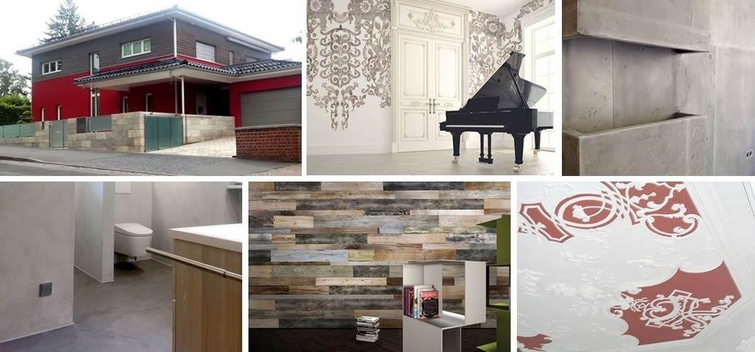 Wandgestaltung, fugenlose Bäder, Betonoptik, Fassaden gestalten und