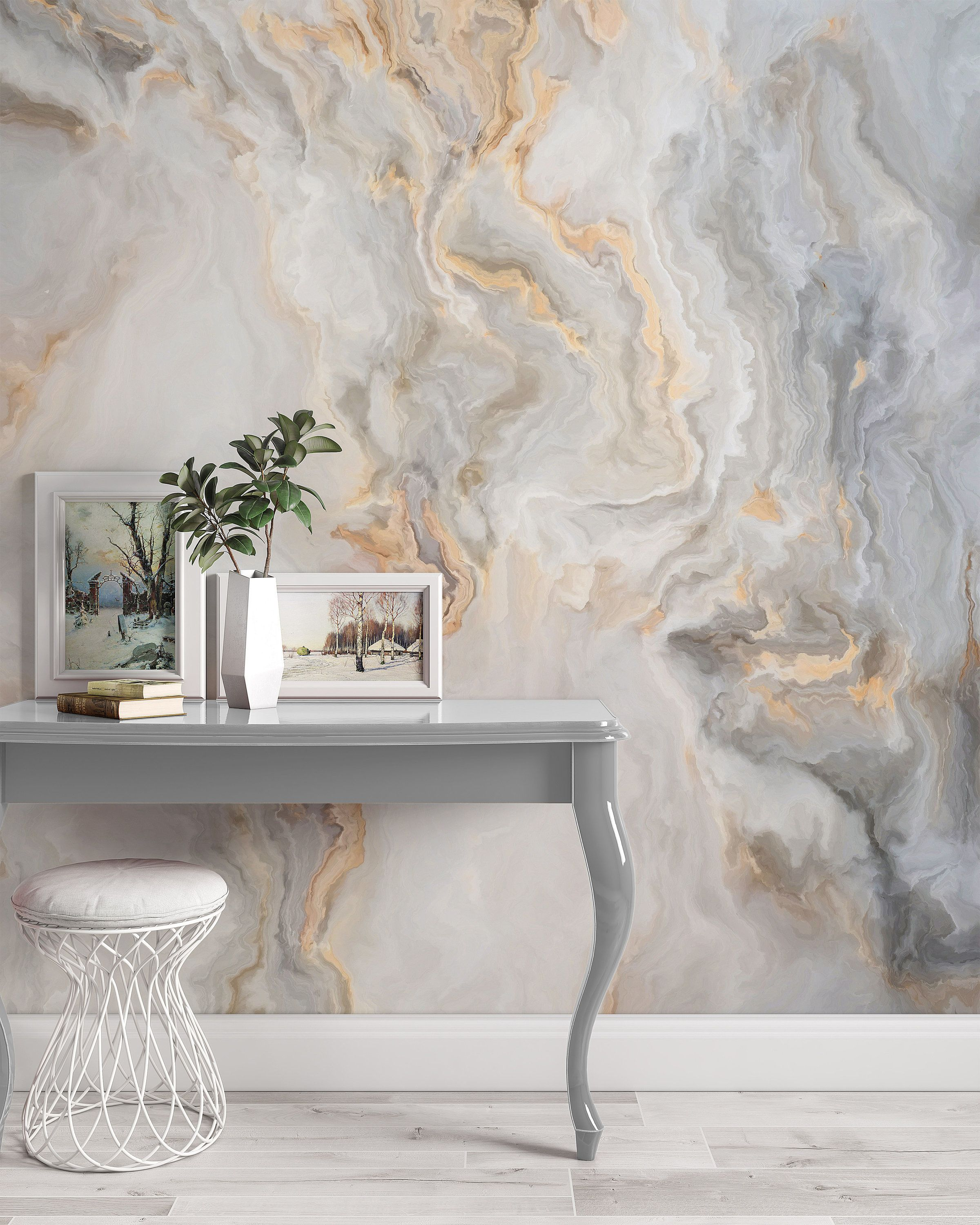 White Marble Pattern Curly Grey Golden Look Abstract Wallpaper Etsy Gold Abstract Wallpaper Marble Effect Wallpaper Gold Marble Wallpaper