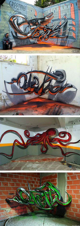 Portuguese street artist creates stunning 3d graffiti that - Kreative wandbemalung ...