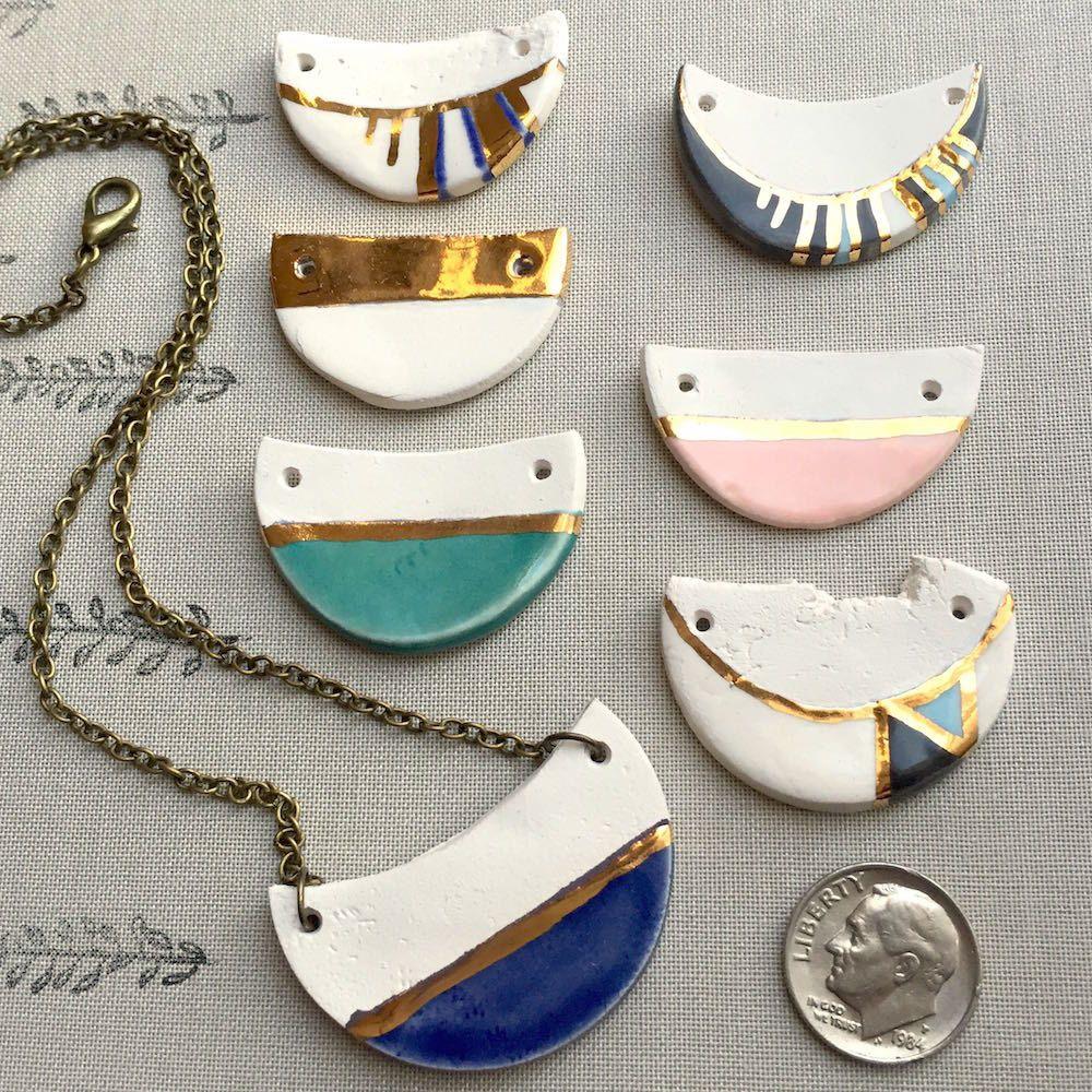 Half circle ceramic and 22kt gold pendants handmade pendants half circle ceramic and 22kt gold pendants handmade pendants ceramic pendants modern aloadofball Choice Image