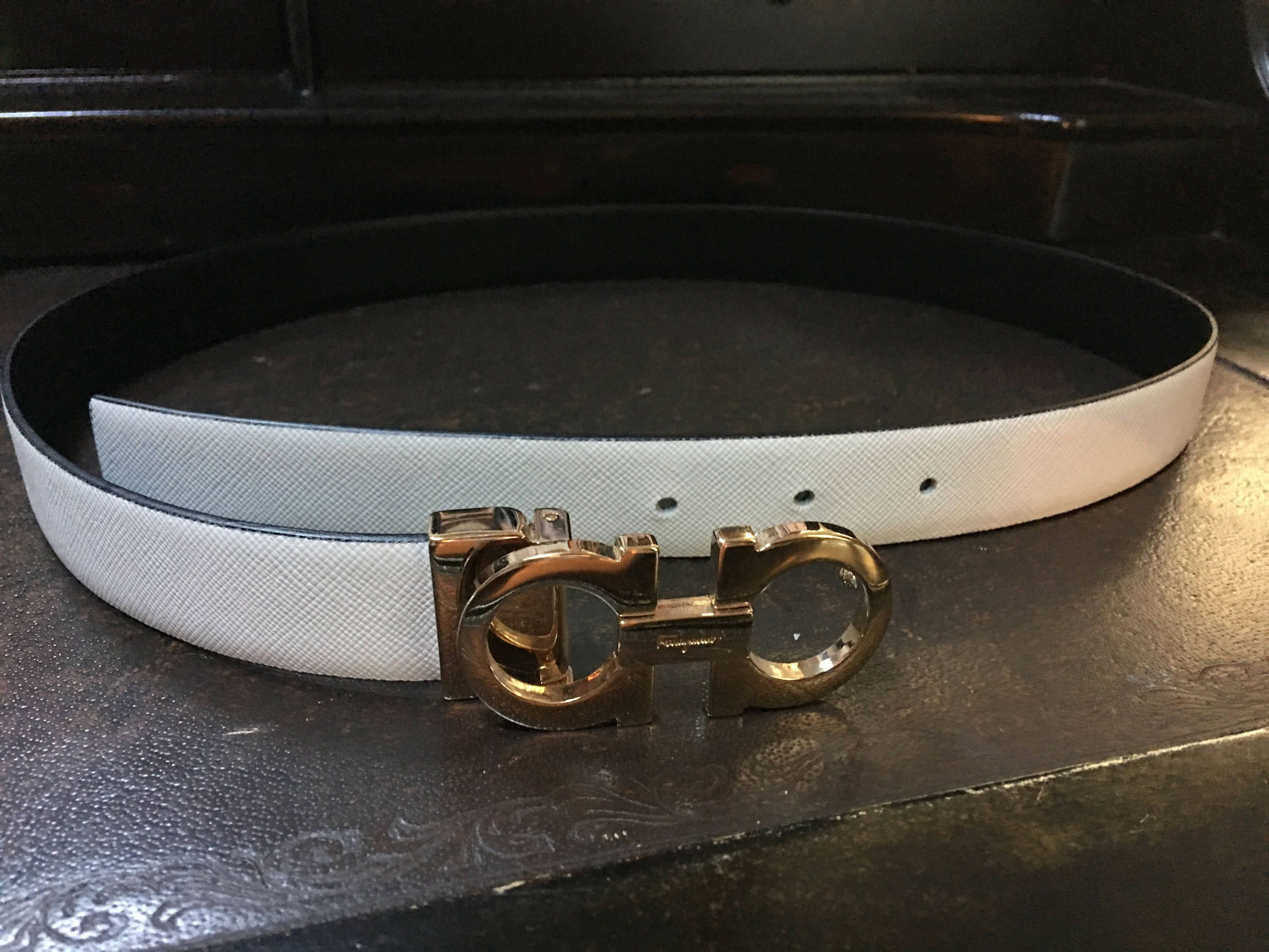White and Gold Ferragamo Ladies Belt Size 6/Medium | Belts ...