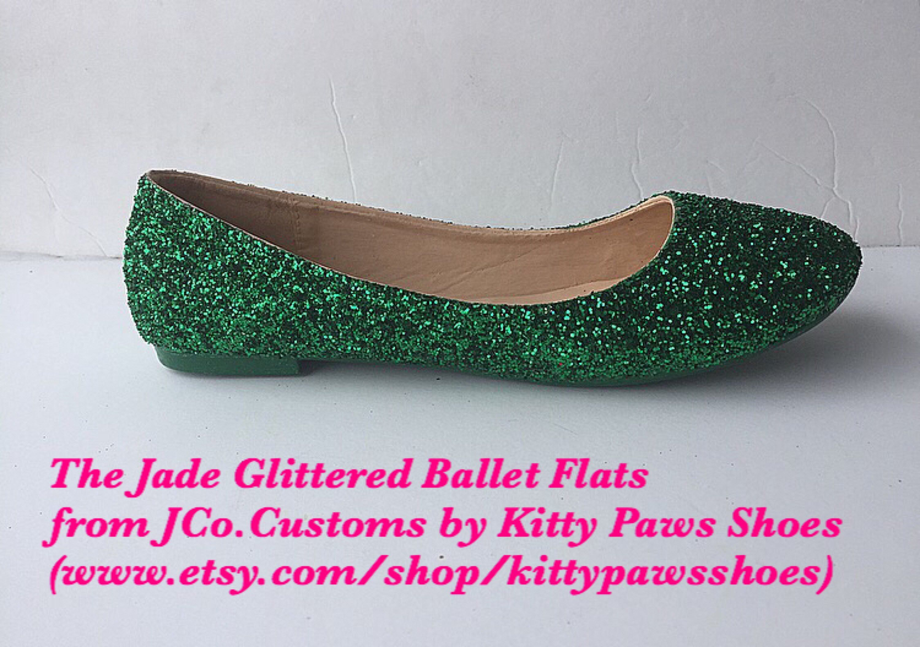 814ec043ba7 Excited to share this item from my  etsy shop  Women s Holiday Christmas  Birthday Casual Fall Dark Green Jade Emerald Glittered Ballet Flats from  JCo.