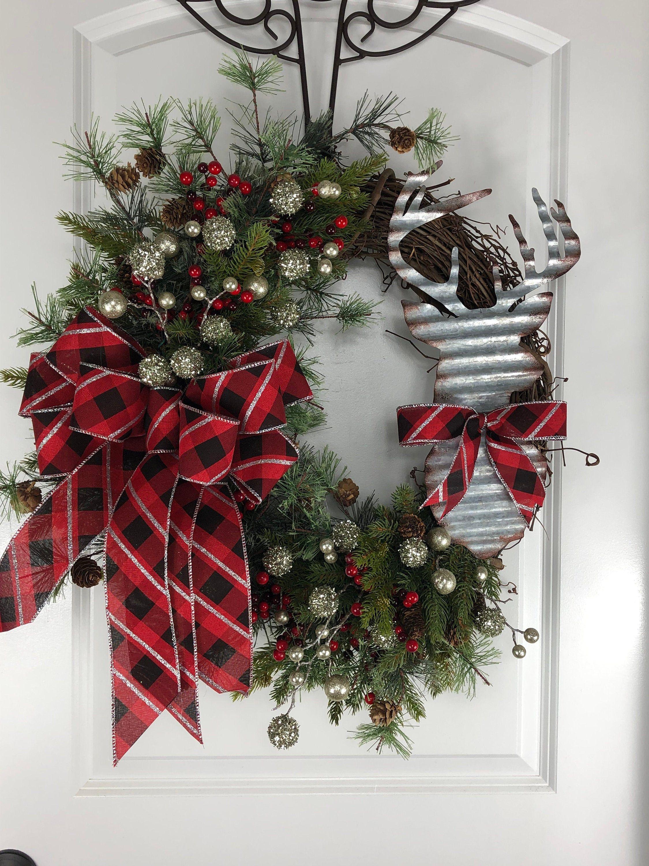 Christmas Wreath Winter Wreath Front Door Wreath Winter Decor Country Wreath Rustic W Christmas Wreaths Christmas Wreaths Diy Homemade Christmas Wreaths