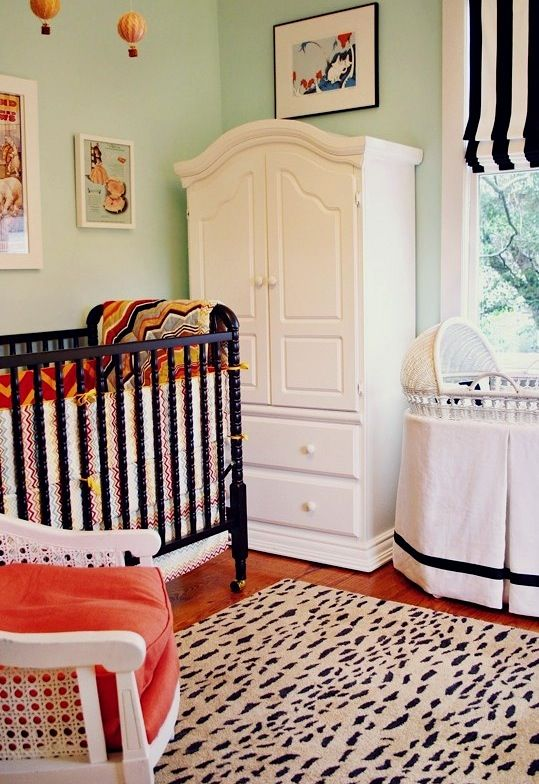 Love How This Room Is Mostly Black And White With Mint Green Walls Orange Pops Of Color Leopard Can Use Idea In Any Not Just A Nursery