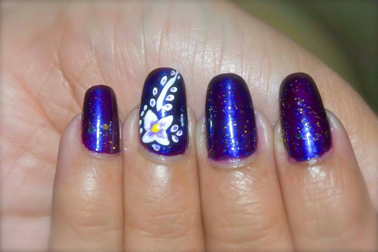 Purple And White Flower Nail Art Pretty Floral Design Step By