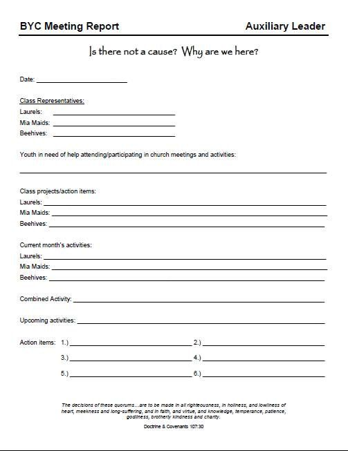 BYC Bishop Youth Committee Leader Report form by theNEATfreak - committee report template