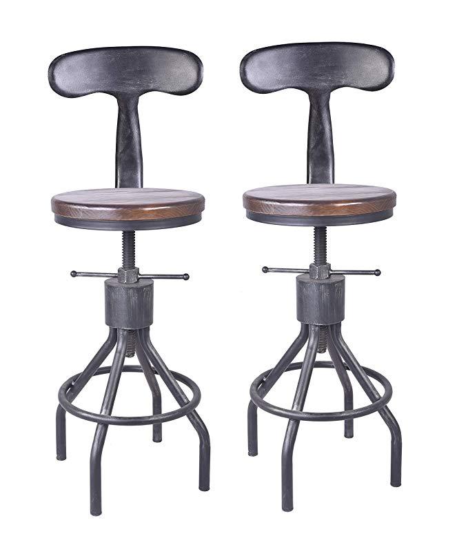Amazon Com Lokkhan Set Of 2 Industrial Bar Stool Adjustable Swivel Wood Metal Bar Stool Extra Tal In 2020 Adjustable Bar Stools Industrial Bar Stools Metal Bar Stools