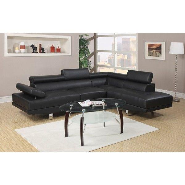 Poundex bobkona 3 piece bonded leather sectional sofa ebony