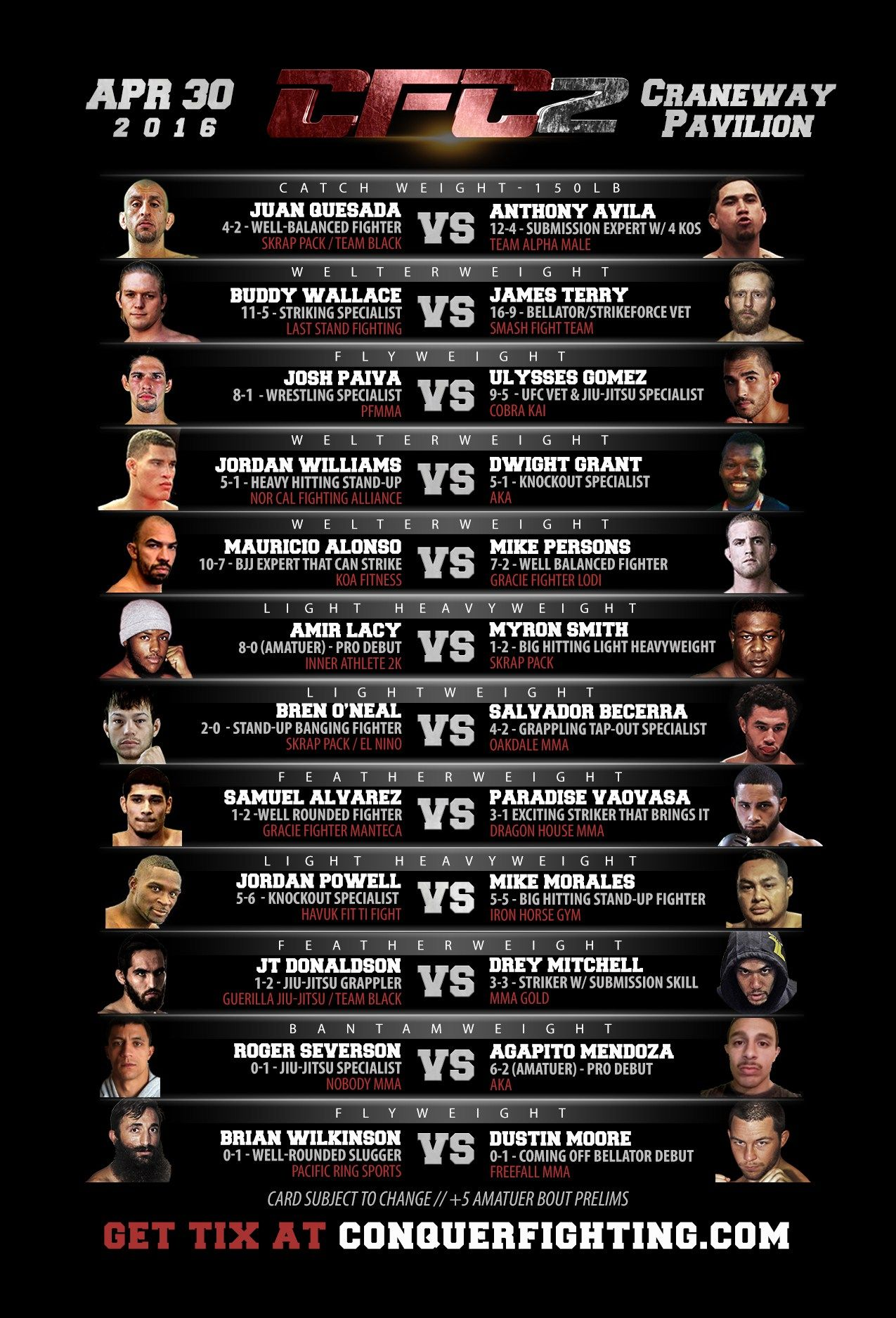 Conquer Fighting Championships 2 Cfc2 Fight Card Announced Conquer Fighting Championships News Mma And More Fight Jordan Williams Cards