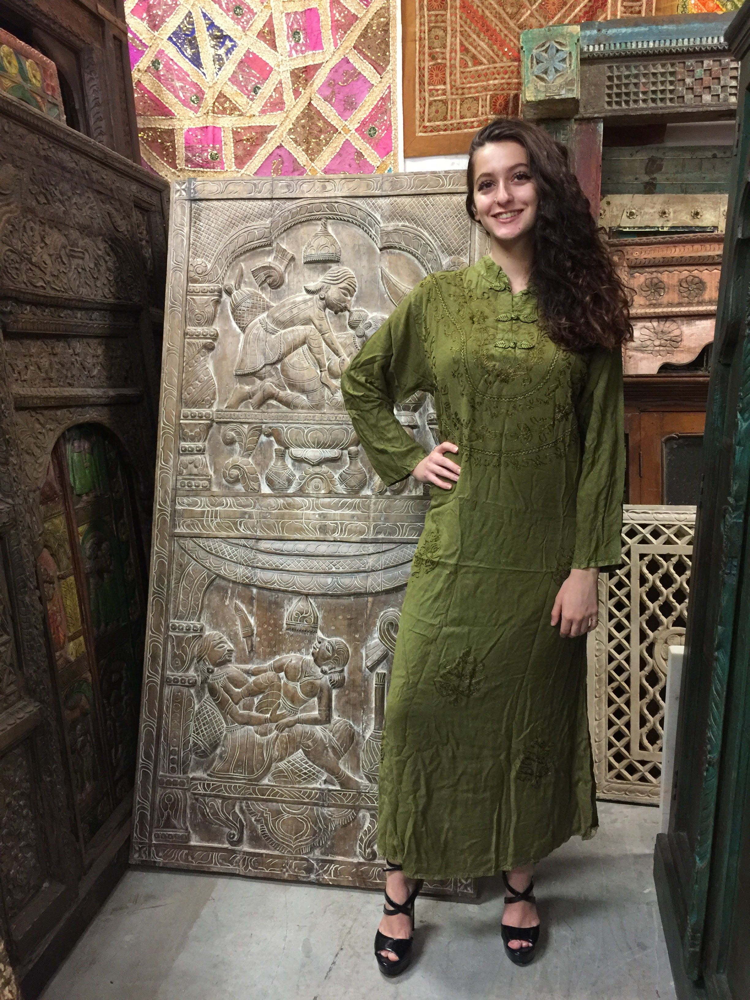 Mogul interior bohemian ladies maxi dress button front embroidered