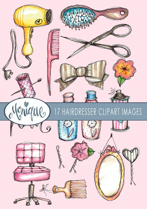 Clipart Watercolor Hairdresser Theme Sissors Mirror Chair Bow