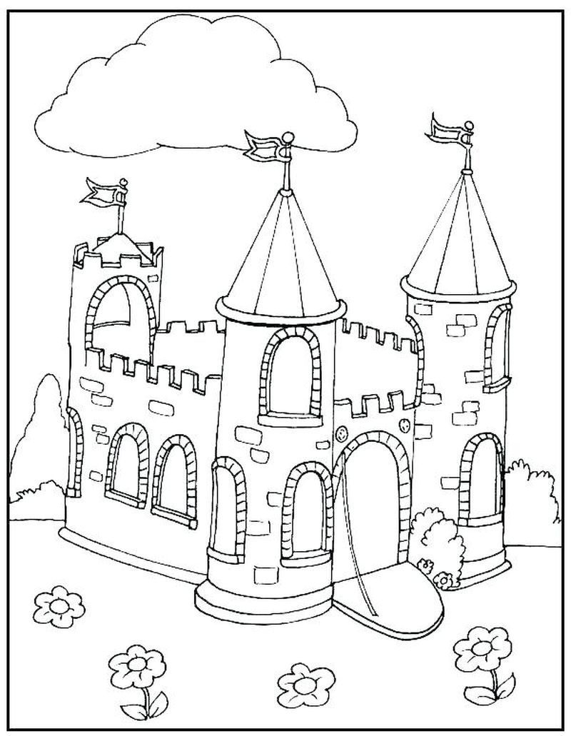 coloriages de château  birthday  castle coloring page