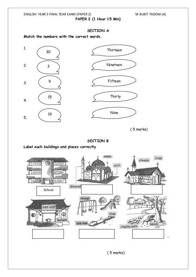 English Test Year 3 Paper 2 Worksheet English Test