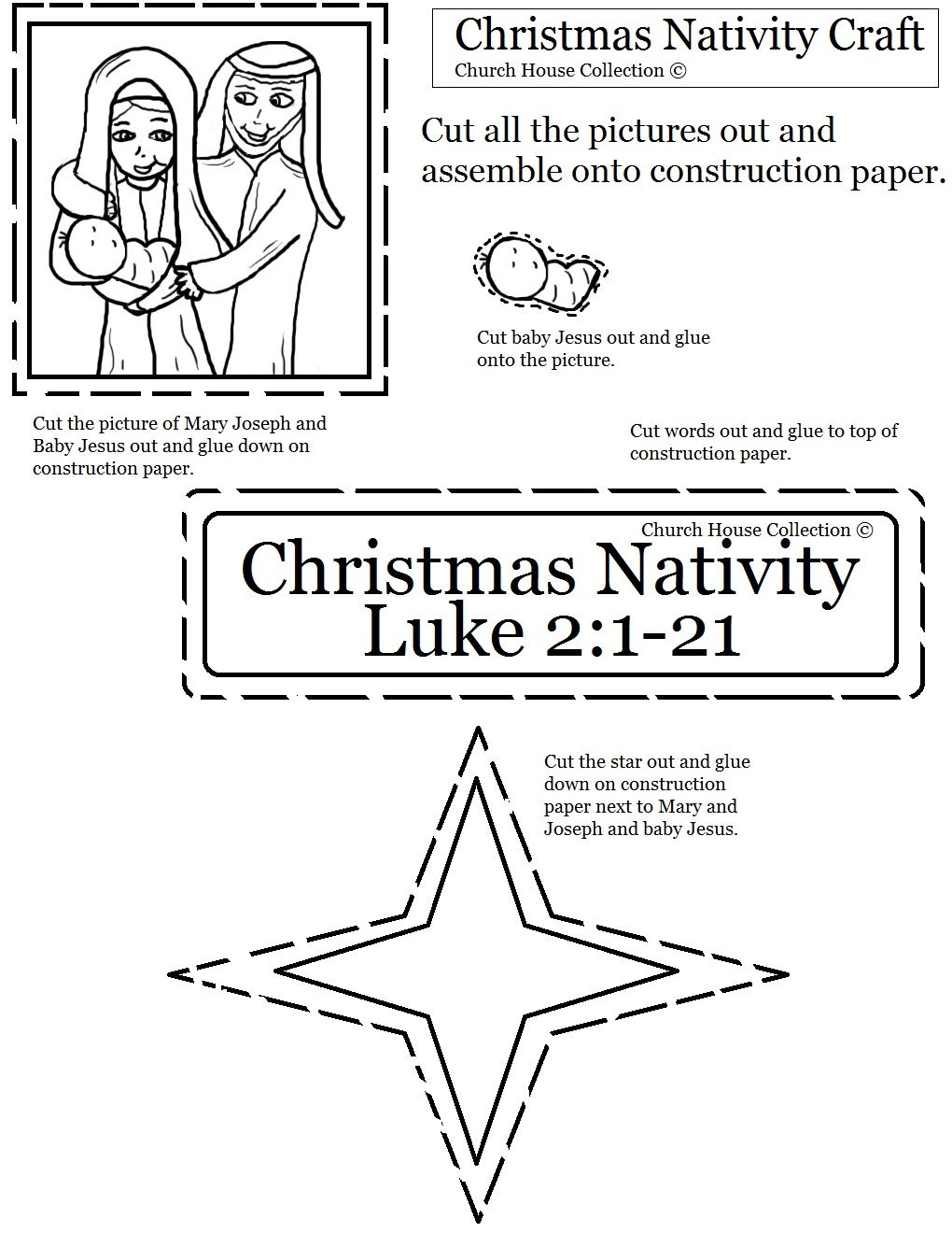 Nativity cutout sheet for kids in Sunday school or children\u002639;s church  Christmas Ideas For